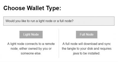 Bij het installeren van de iota wallet kies voor een Light Node