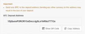Maak een kopie van je BTC adres